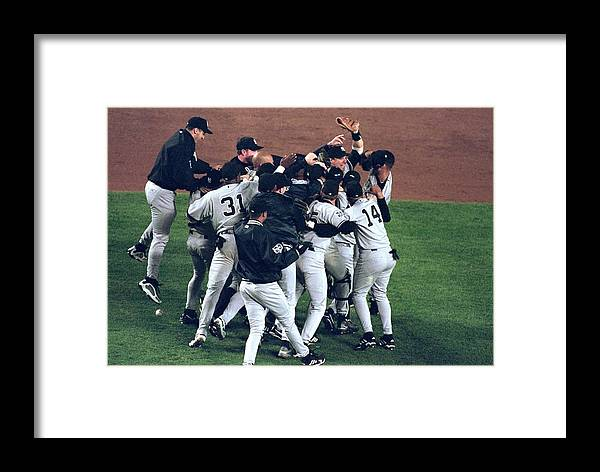 Celebration Framed Print featuring the photograph View Of Yankees by Al Bello