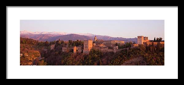 Scenics Framed Print featuring the photograph View To The Alhambra At Sunset by David C Tomlinson
