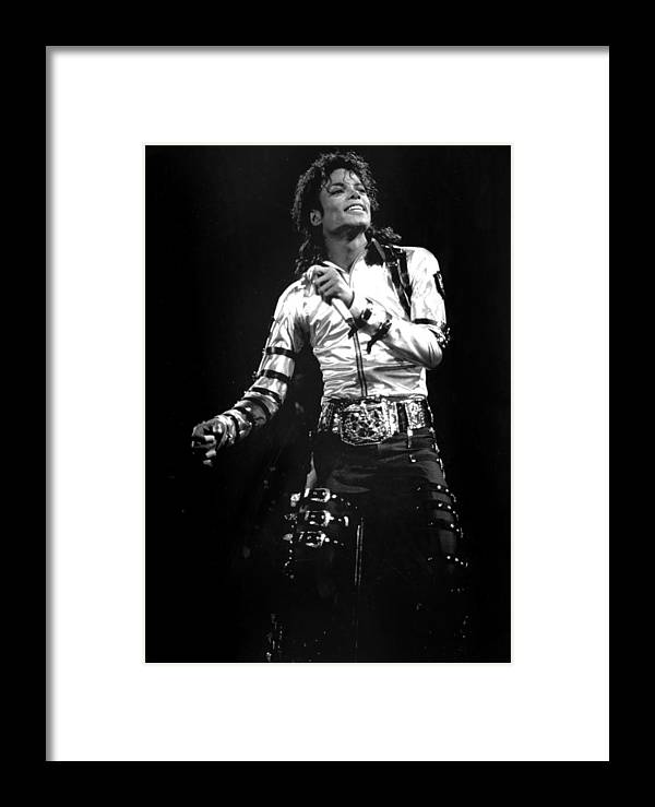1980-1989 Framed Print featuring the photograph Views Of Michael Jackson Concert During by New York Daily News Archive
