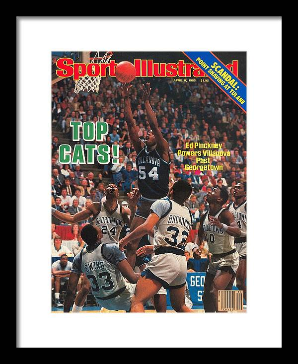 1980-1989 Framed Print featuring the photograph Villanova University Ed Pinckney, 1985 Ncaa National Sports Illustrated Cover by Sports Illustrated