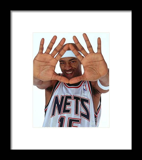Nba Pro Basketball Framed Print featuring the photograph Vince Carter Studio Portrait by Nathaniel S. Butler