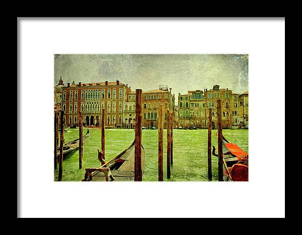 Grunge Framed Print featuring the digital art Vintage Grand Canal Panorama by Luisa Vallon Fumi