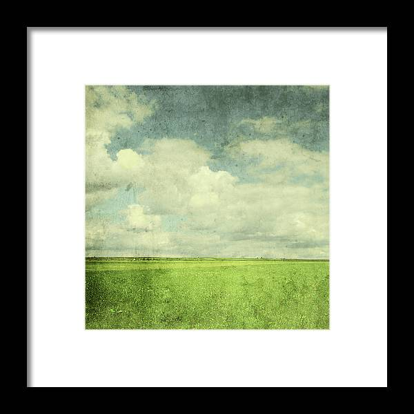 Scenics Framed Print featuring the photograph Vintage Image Of Green Field And Blue by Jasmina007