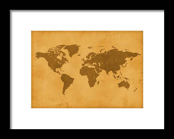 Material Framed Print featuring the photograph Vintage Map Of The World In Brown by Yorkfoto