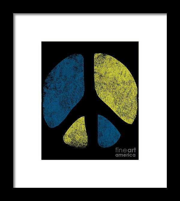 Cool Framed Print featuring the digital art Vintage Peace Sign by Flippin Sweet Gear