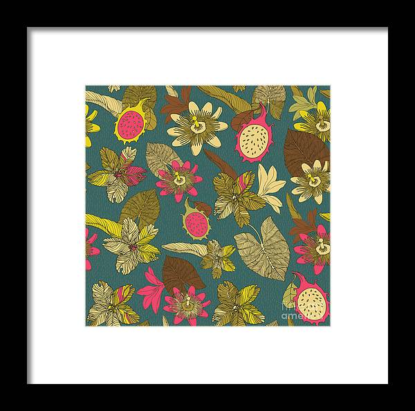 Trend Framed Print featuring the digital art Vintage Seamless Tropical Flowers With by Zolssa
