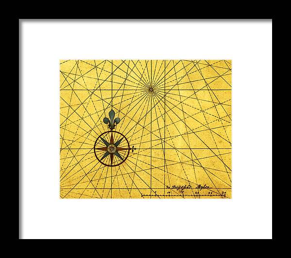 East Framed Print featuring the digital art Vintage Style Design With Compass Rose by Nicoolay