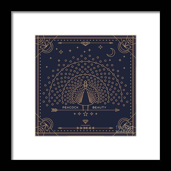 Symbol Framed Print featuring the digital art Vintage Thin Line Peacock Label. Retro by Karnoff