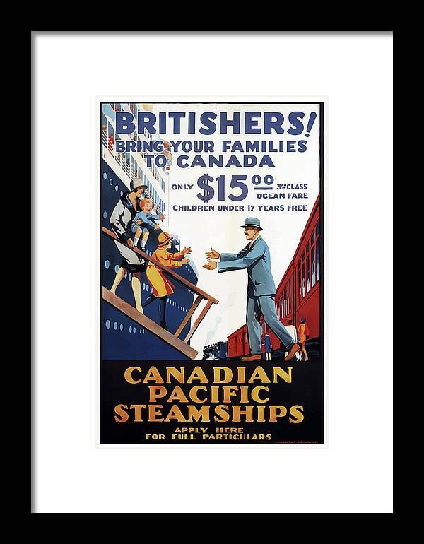 Vintage Framed Print featuring the mixed media Vintage Travel Poster Canada Pacific Steamships by Movie Poster Prints