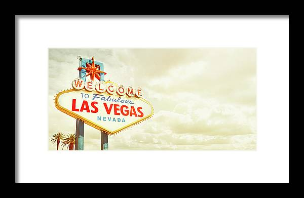 Panoramic Framed Print featuring the photograph Vintage Welcome To Fabulous Las Vegas by Powerofforever