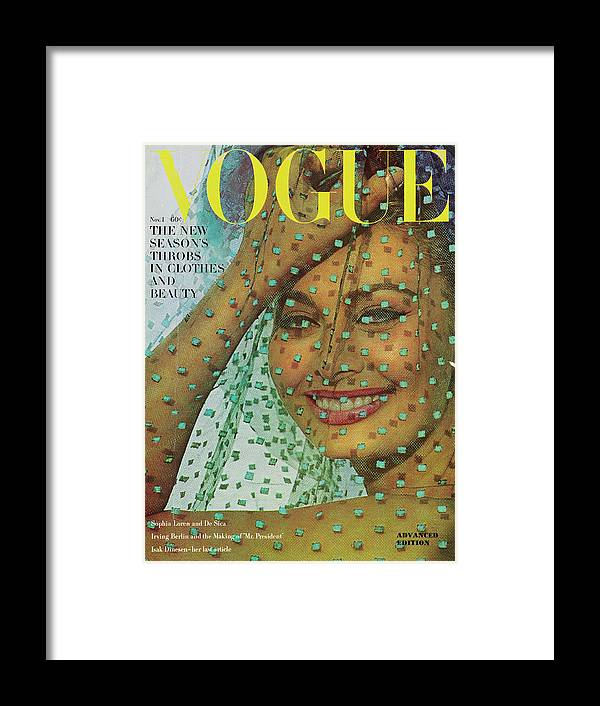 Fashion Framed Print featuring the photograph Vogue Magazine November 01, 1962 Cover by Bert Stern