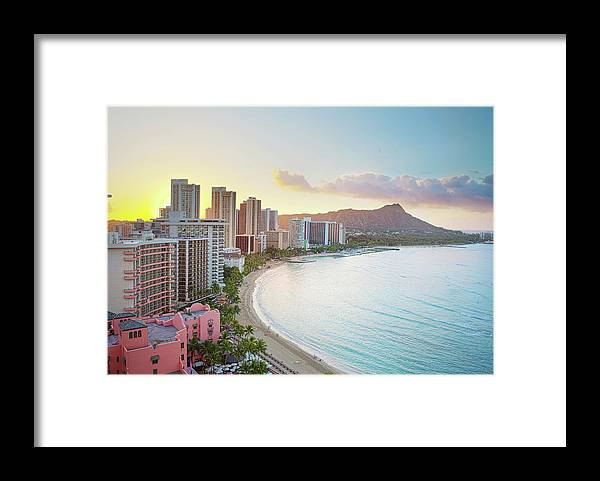 Scenics Framed Print featuring the photograph Waikiki Beach At Sunrise by M Swiet Productions