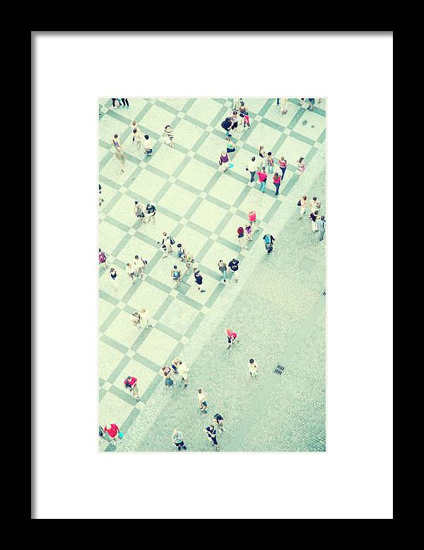 Pedestrian Framed Print featuring the photograph Walking People by Carlo A