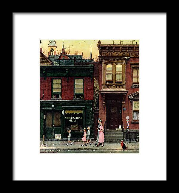 Churches Framed Print featuring the drawing Walking To Church by Norman Rockwell