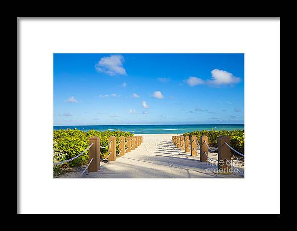 Heat Framed Print featuring the photograph Walkway To Famous South Beach, Miami by Mia2you