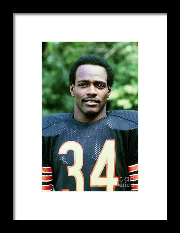 American Football Uniform Framed Print featuring the photograph Walter Payton Of The Chicago Bears by Bettmann