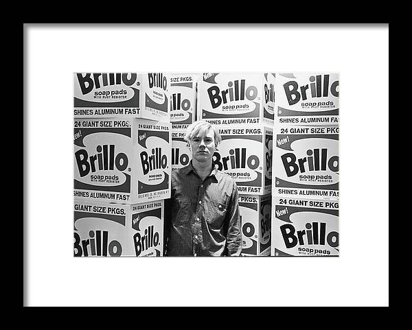 Artist Framed Print featuring the photograph Warhol & Brillo Boxes At Stable Gallery by Fred W. McDarrah