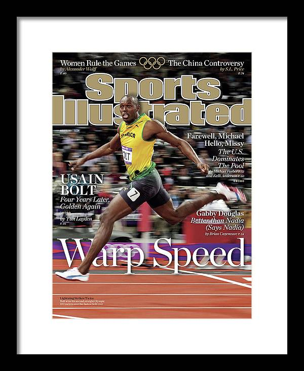 Magazine Cover Framed Print featuring the photograph Warp Speed 2012 Summer Olympics Sports Illustrated Cover by Sports Illustrated