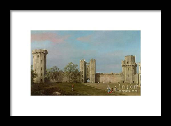 Warwick Castle Framed Print featuring the painting Warwick Castle, East Front From The Courtyard, 1752 by Canaletto