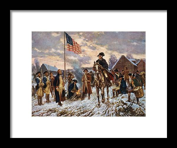 George Washington Framed Print featuring the painting Washington at Valley Forge by War Is Hell Store