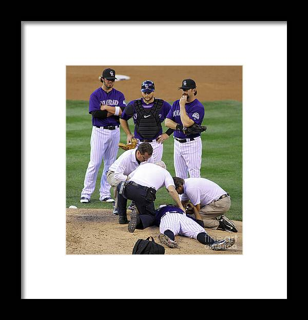 Sports Ball Framed Print featuring the photograph Washington Nationals V Colorado Rockies by Marc Piscotty