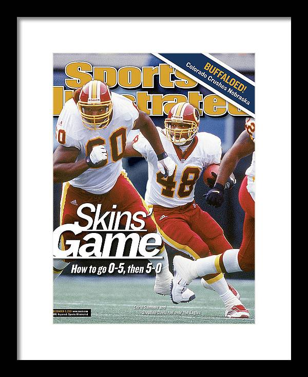 Magazine Cover Framed Print featuring the photograph Washington Redskins Stephen Davis... Sports Illustrated Cover by Sports Illustrated