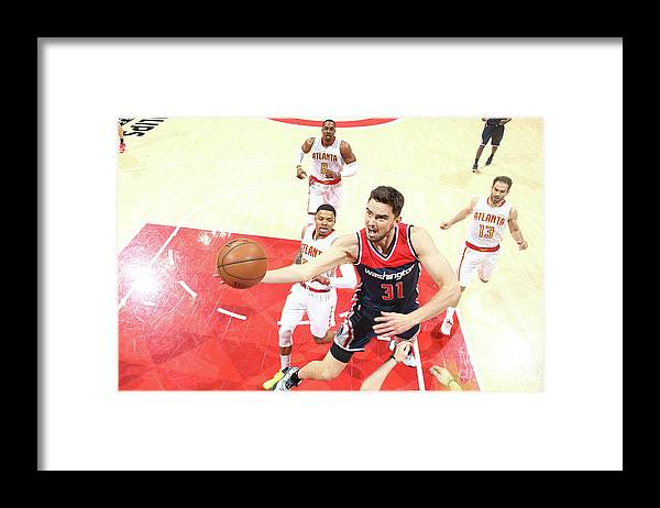 Atlanta Framed Print featuring the photograph Washington Wizards V Atlanta Hawks - by Kevin Liles