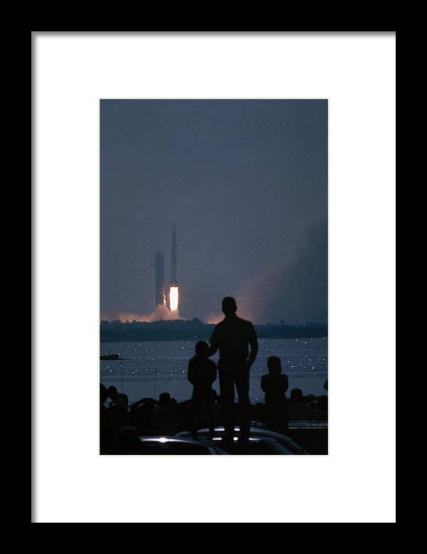 Timeincown Framed Print featuring the photograph Watching The Apollo 11 Launch by Ralph Crane