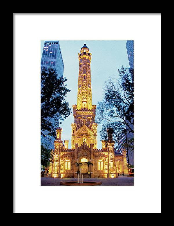 Travel16 Framed Print featuring the photograph Water Tower At Night In Chicago by Medioimages/photodisc