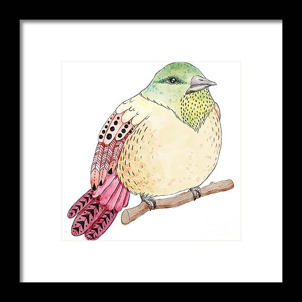 Symbol Framed Print featuring the digital art Watercolor Birds Illustration. Hand by Maria Sem