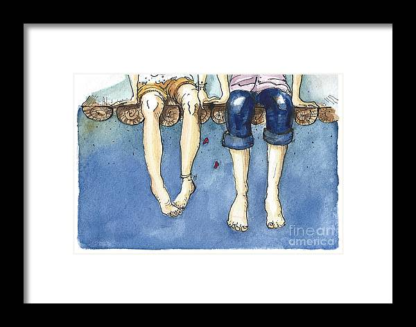 Love Framed Print featuring the digital art Watercolor Illustration Of A Young by Julia Henze