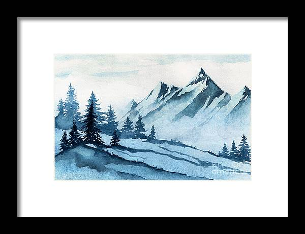Forest Framed Print featuring the digital art Watercolor Illustration. Winter by Alexgreenart