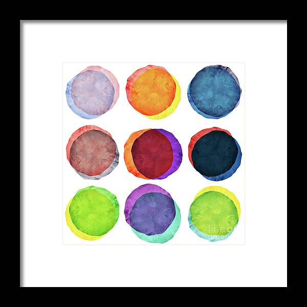 Watercolor Painting Framed Print featuring the photograph Watercolor Painted Circles Various by Momentousphotovideo