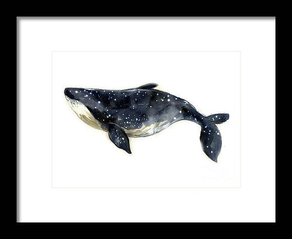 Symbol Framed Print featuring the digital art Watercolor Sketch Blue Whale by Tatyana Komtsyan