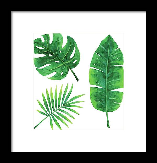 Tropical Rainforest Framed Print featuring the digital art Watercolor Tropical Leaves by Saemilee