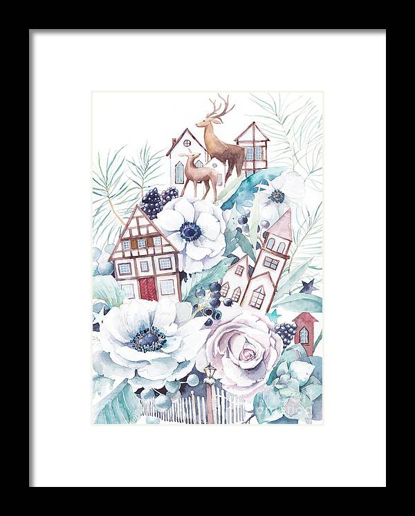 Berry Framed Print featuring the digital art Watercolor Winter Fairytale by Eisfrei