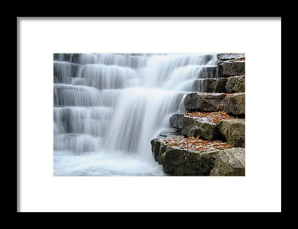 Steps Framed Print featuring the photograph Waterfall Flowing Over Rock Stair by Catnap72