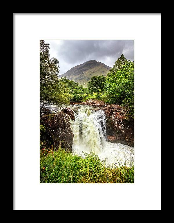 Clouds Framed Print featuring the photograph Waterfall Under The Mountain by Debra and Dave Vanderlaan