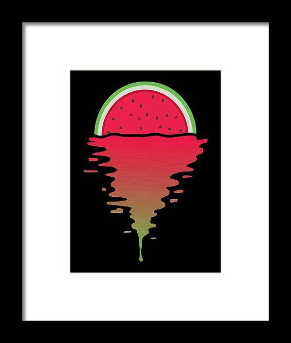 Watermelon Framed Print featuring the digital art Watermelon Sunset by Filip Schpindel