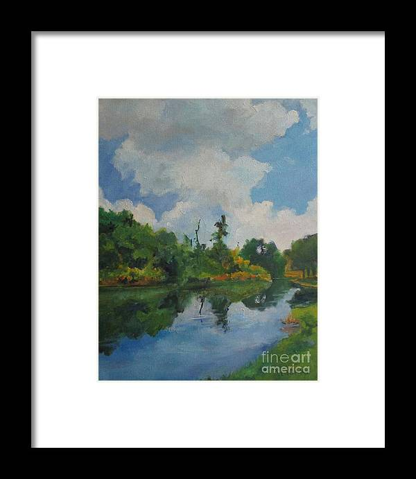 Barbara Moak Framed Print featuring the painting Waterway At Millennium Garden by Barbara Moak