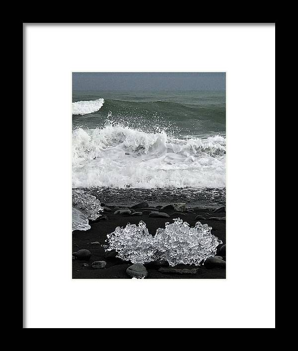 Iceland Framed Print featuring the photograph Waves And Ice by Norman Burnham