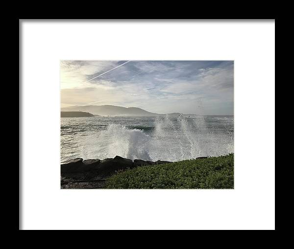 Pacific Ocean Waves White-water Spray Pebble Beach California Wind Sky Clouds Nature Hills Sea Landscape Vistas Framed Print featuring the photograph Waves And Spray by Terry Huntingdon Tydings
