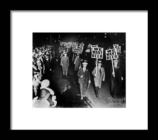 Prohibition Framed Print featuring the photograph We Want Beer by Jon Neidert