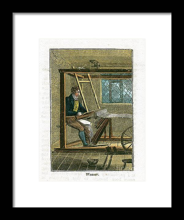 Working Framed Print featuring the drawing Weaver At His Loom, 1823 by Print Collector