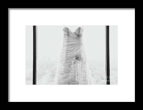 Hanging Framed Print featuring the photograph Wedding Dress In Black Frame by Matt Corkum