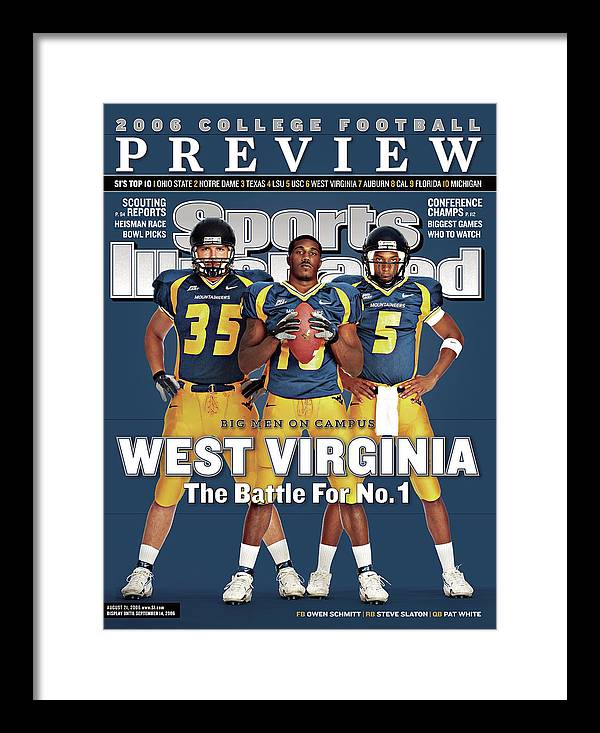 Morgantown Framed Print featuring the photograph West Virginia Steve Slaton, Qb Pat White, And Owen Schmitt Sports Illustrated Cover by Sports Illustrated