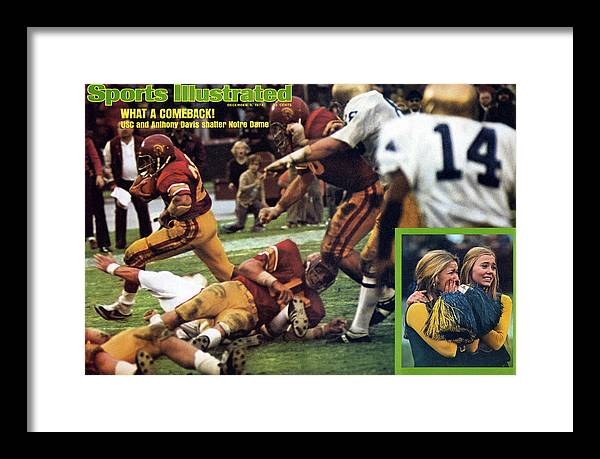 Magazine Cover Framed Print featuring the photograph What A Comeback Usc And Anthony Davis Shatter Notre Dame Sports Illustrated Cover by Sports Illustrated