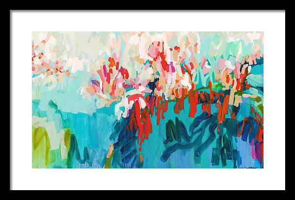 Abstract Framed Print featuring the painting What Are Those Birds Saying? by Claire Desjardins