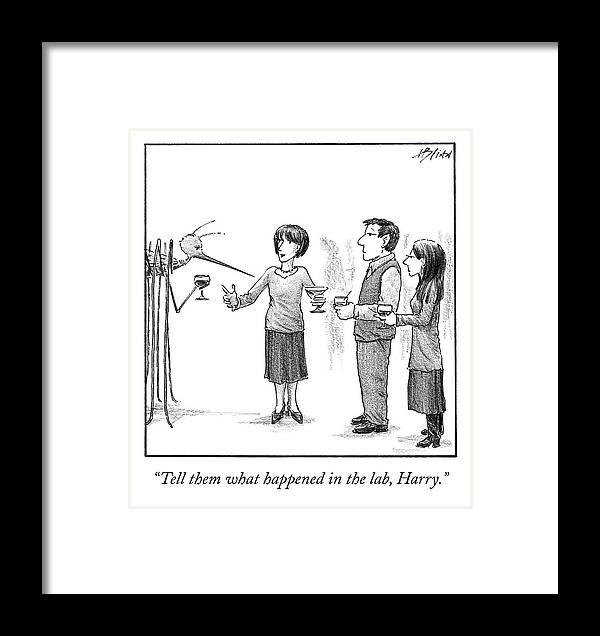 Cctk Framed Print featuring the drawing What Happened In The Lab by Harry Bliss