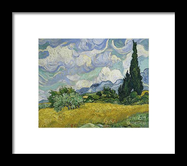 Oil Painting Framed Print featuring the drawing Wheat Field With Cypresses by Heritage Images